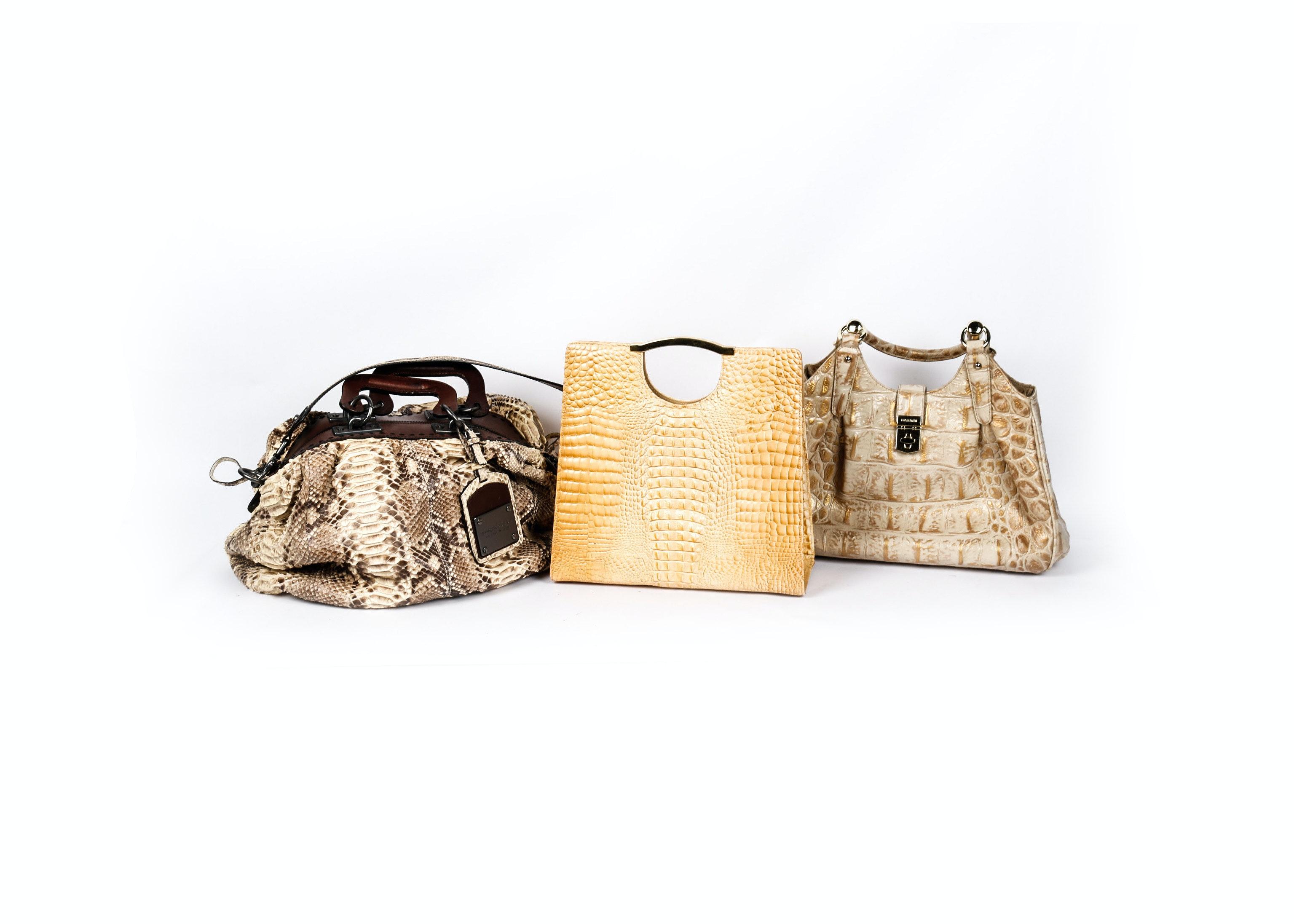 Three Faux Snakeskin Leather Handbags
