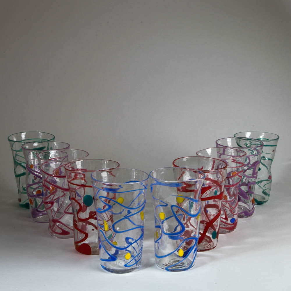 artist signed hand blown drinking glasses