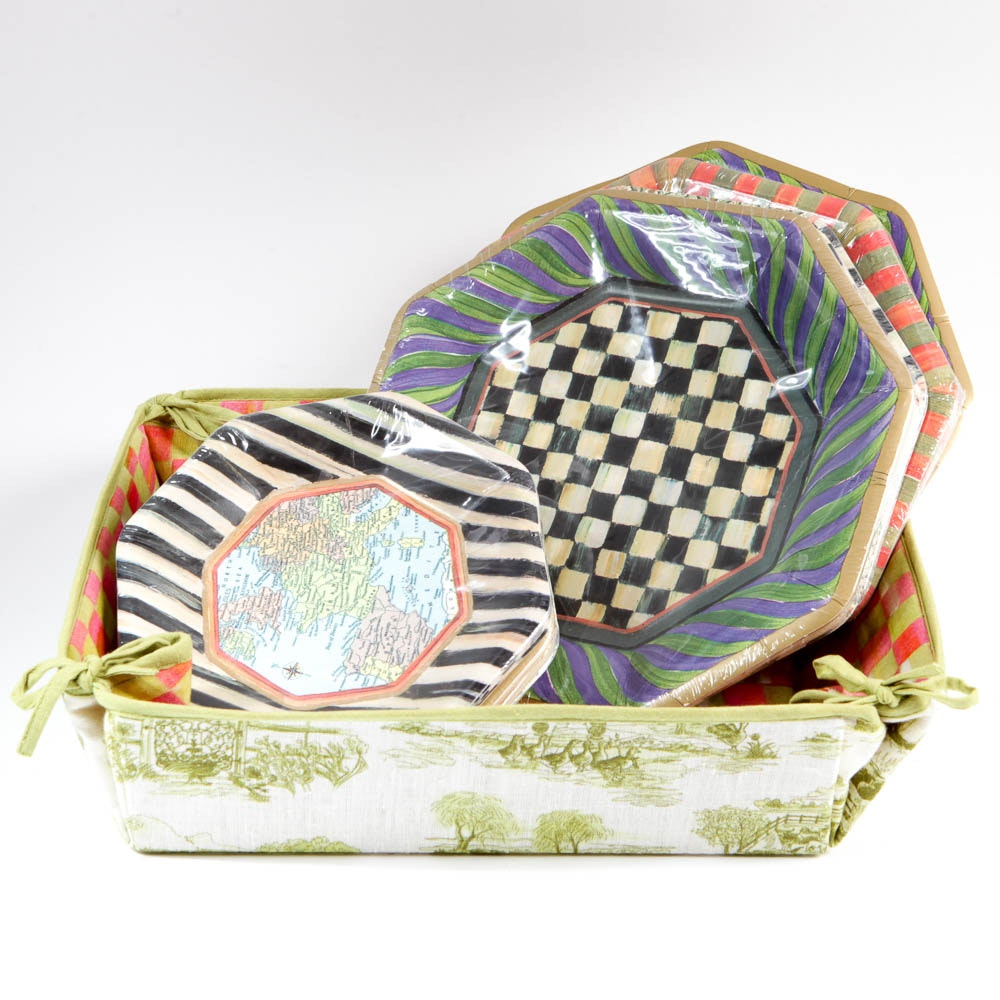 Mackenzie Childs Paper Plates and Cloth Basket