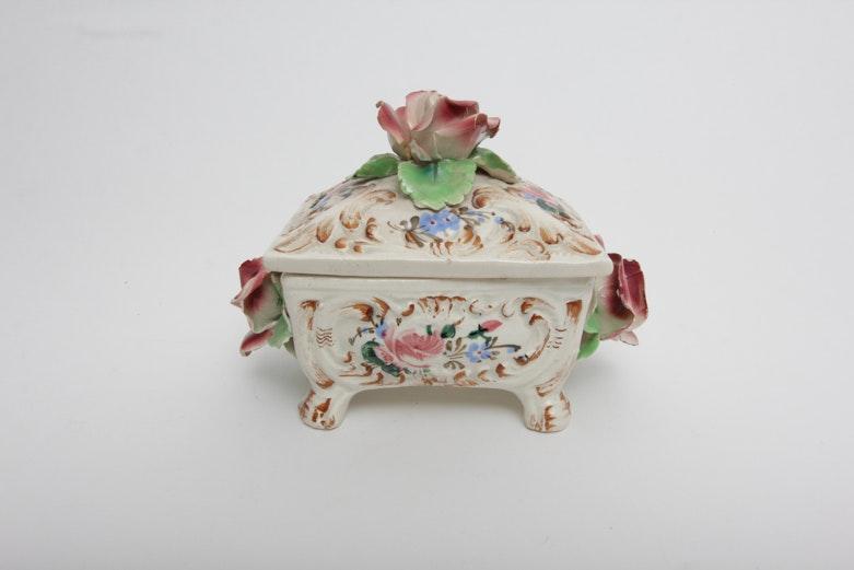 Vintage Italian Porcelain Trinket  Box