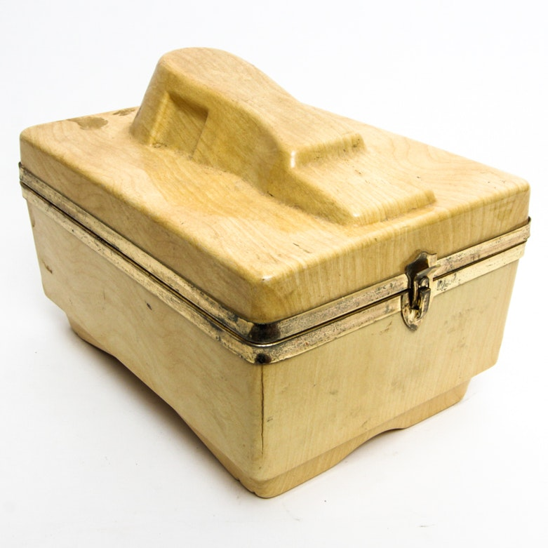 Vintage Wood Shoe Shine Box with Brushes and Polish