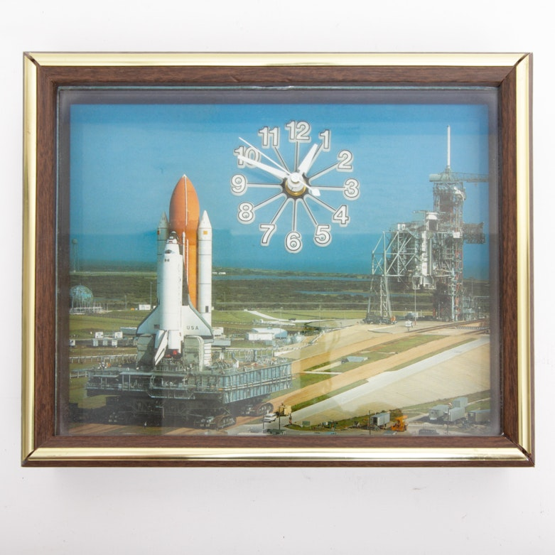 Vintage Wall  Clock Featuring the Shuttle and Launch Pad