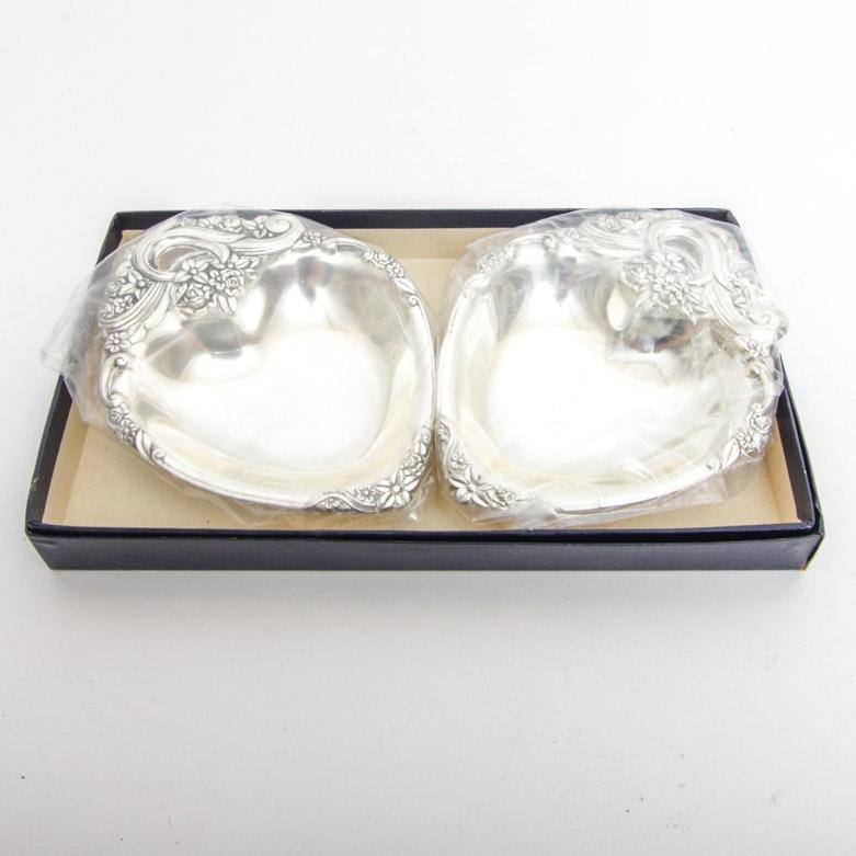 Pair of F.B. Rogers Silver Company Heart Shaped Trinket Trays