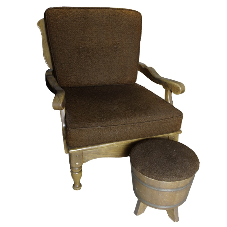 Vintage Armchair with Foot Rest