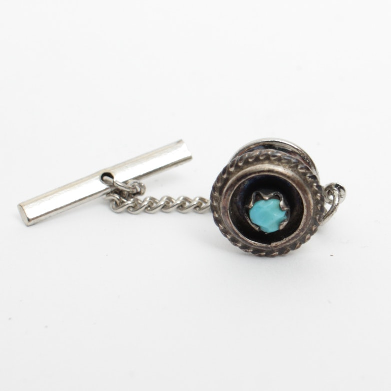Tie Tack with Blue Stone