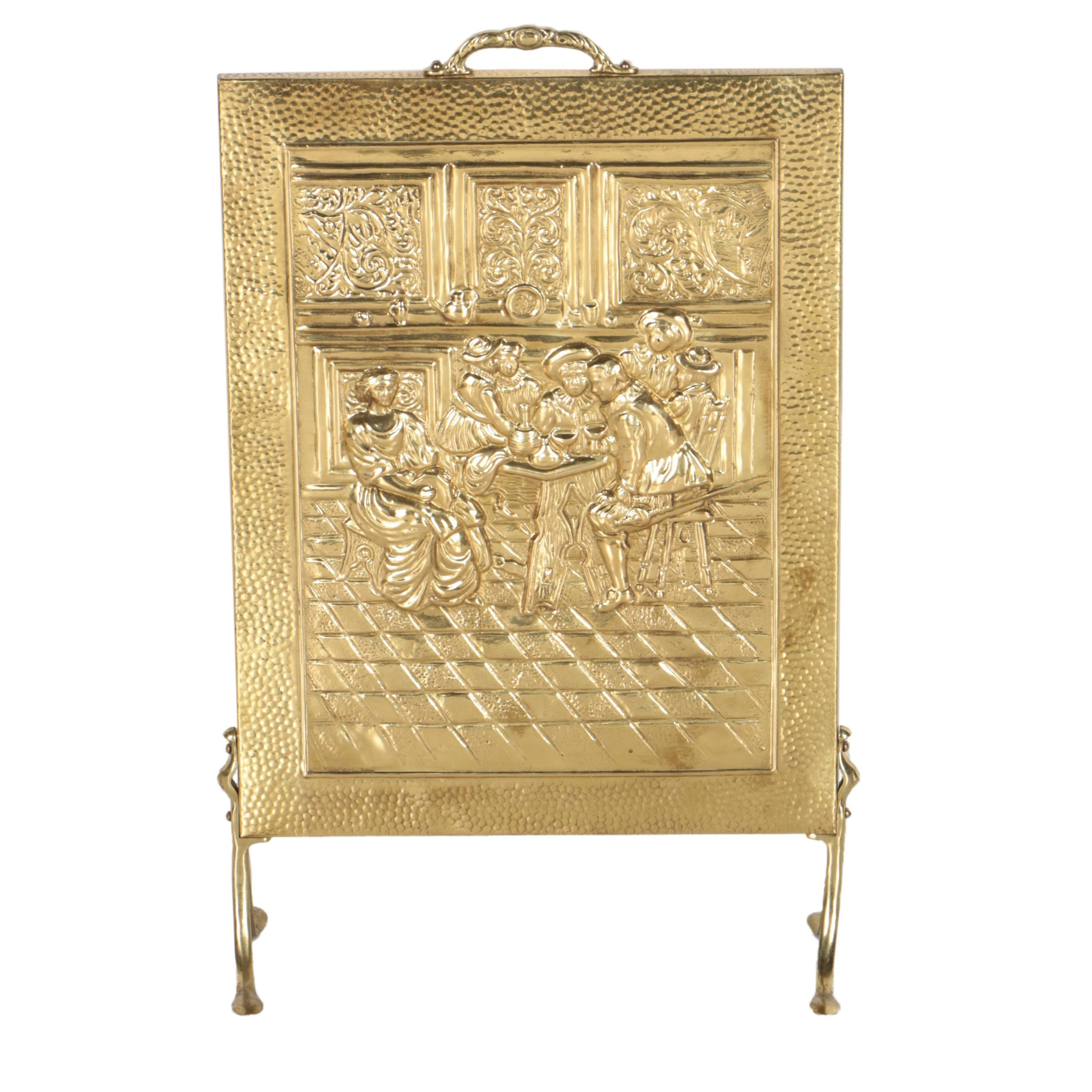Brass Embossed FIreplace Shield