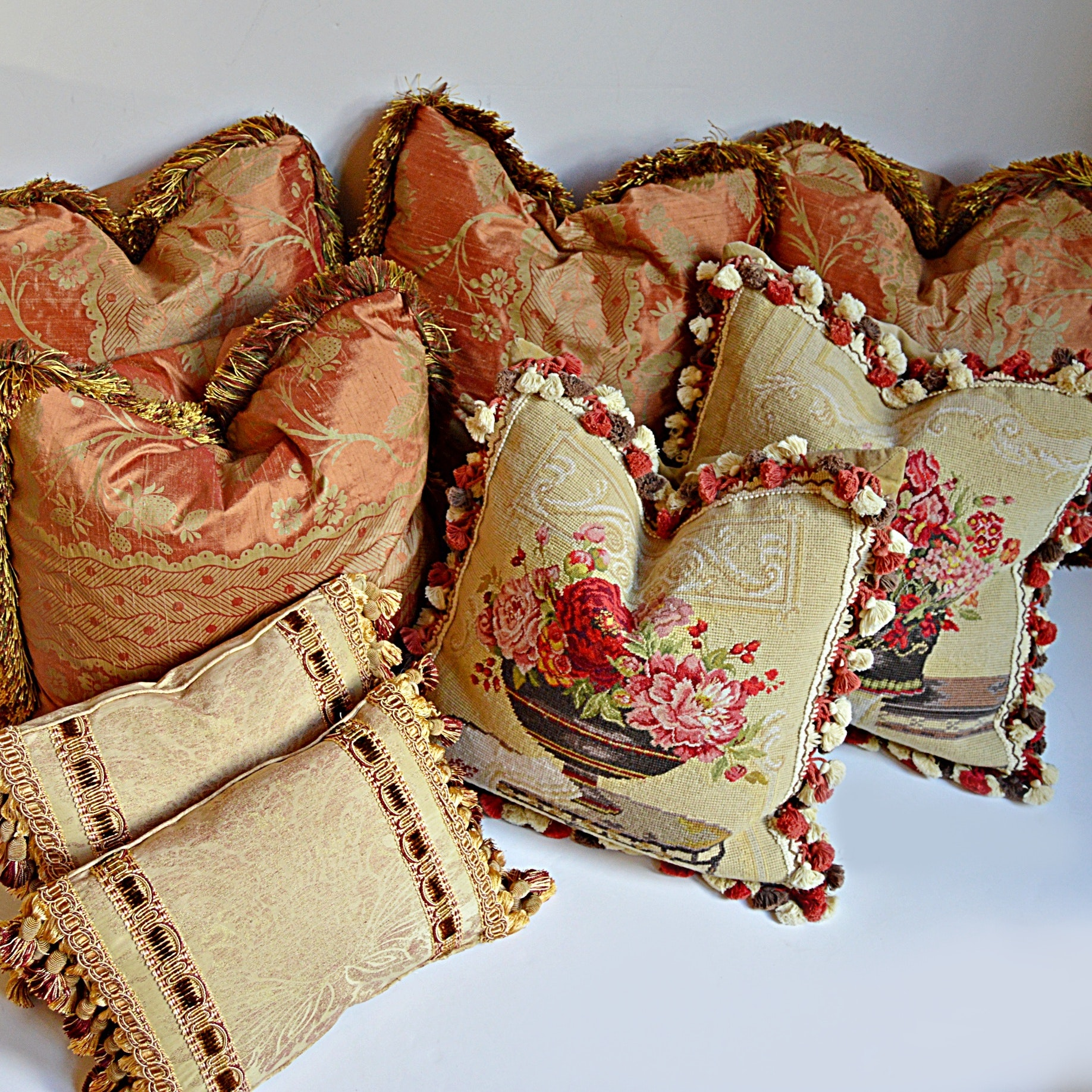 Eight Custom Down-Filled Pillows with Two Needlepoint