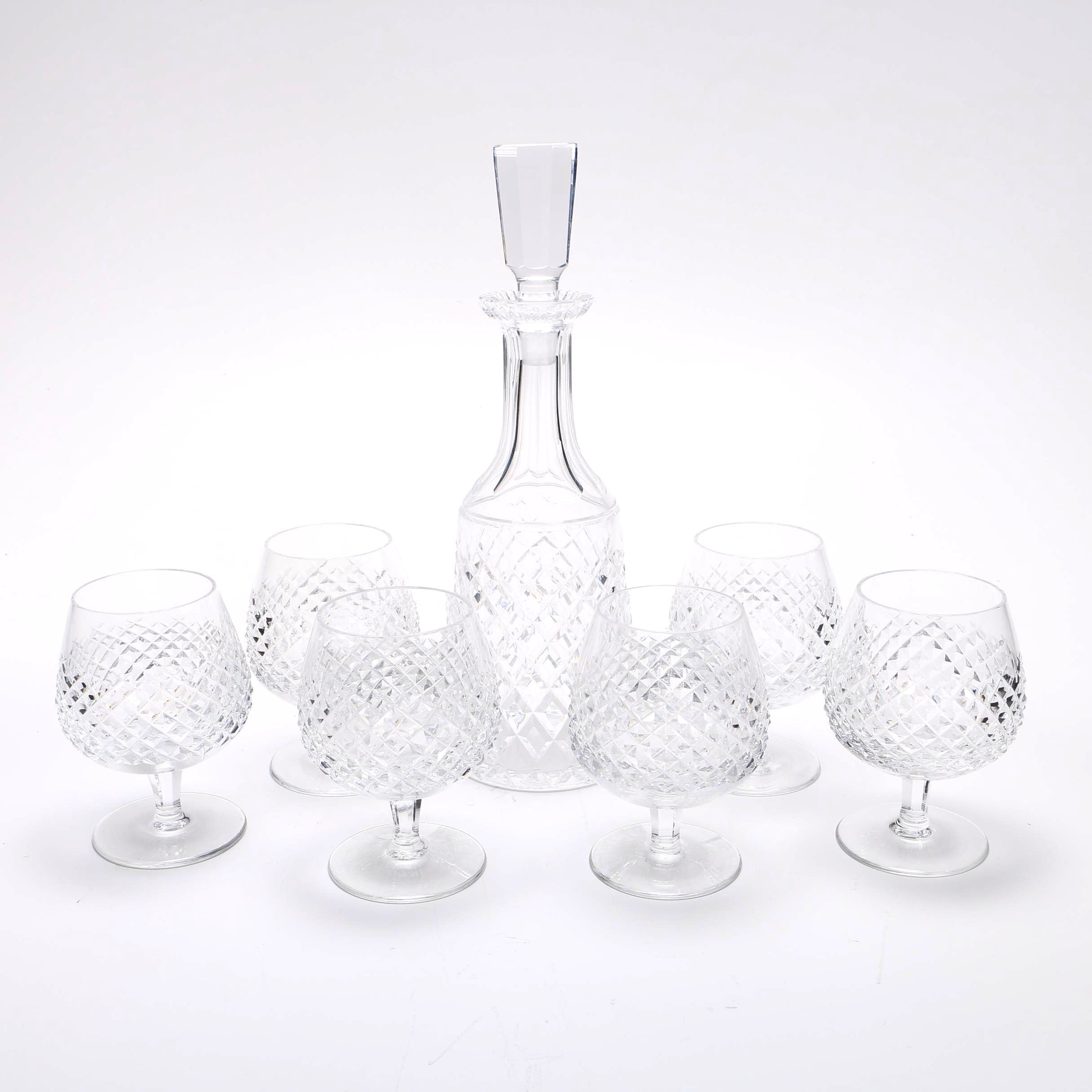 """Waterford """"Alana"""" Crystal Decanter and Brandy Glass Set"""