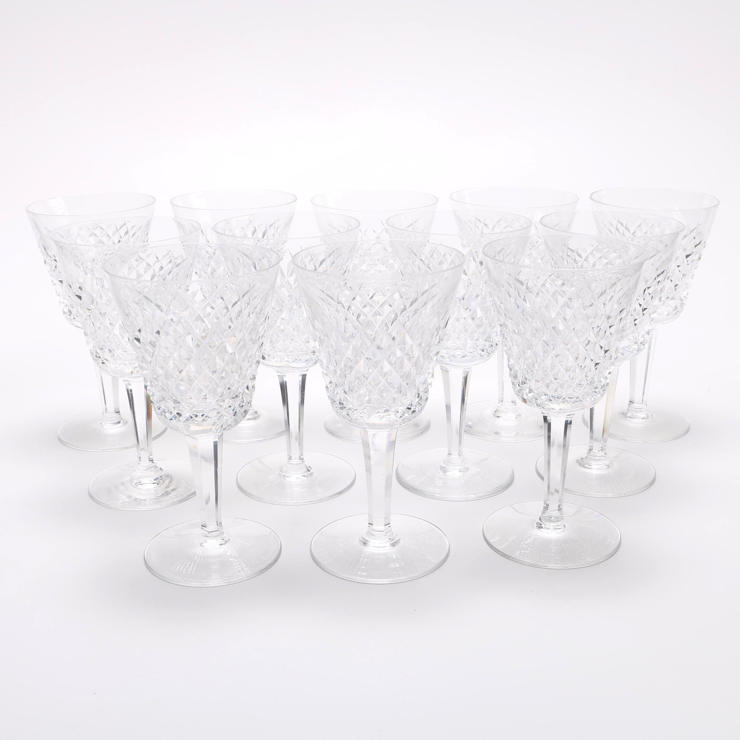 """Waterford """"Alana"""" Crystal Claret Wine Glasses"""