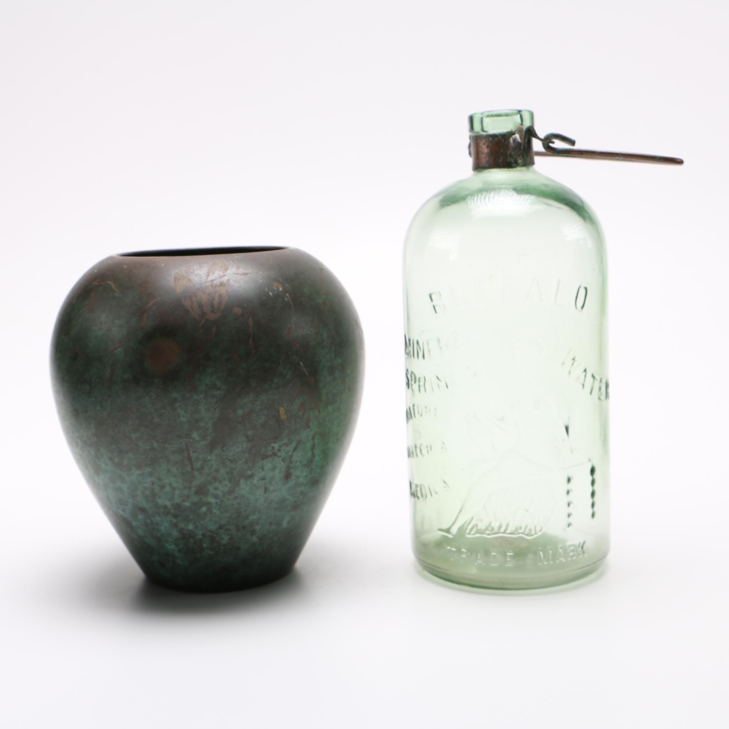 WMF Ikora Vase and Buffalo Mineral Spring Copper Handle Bottle