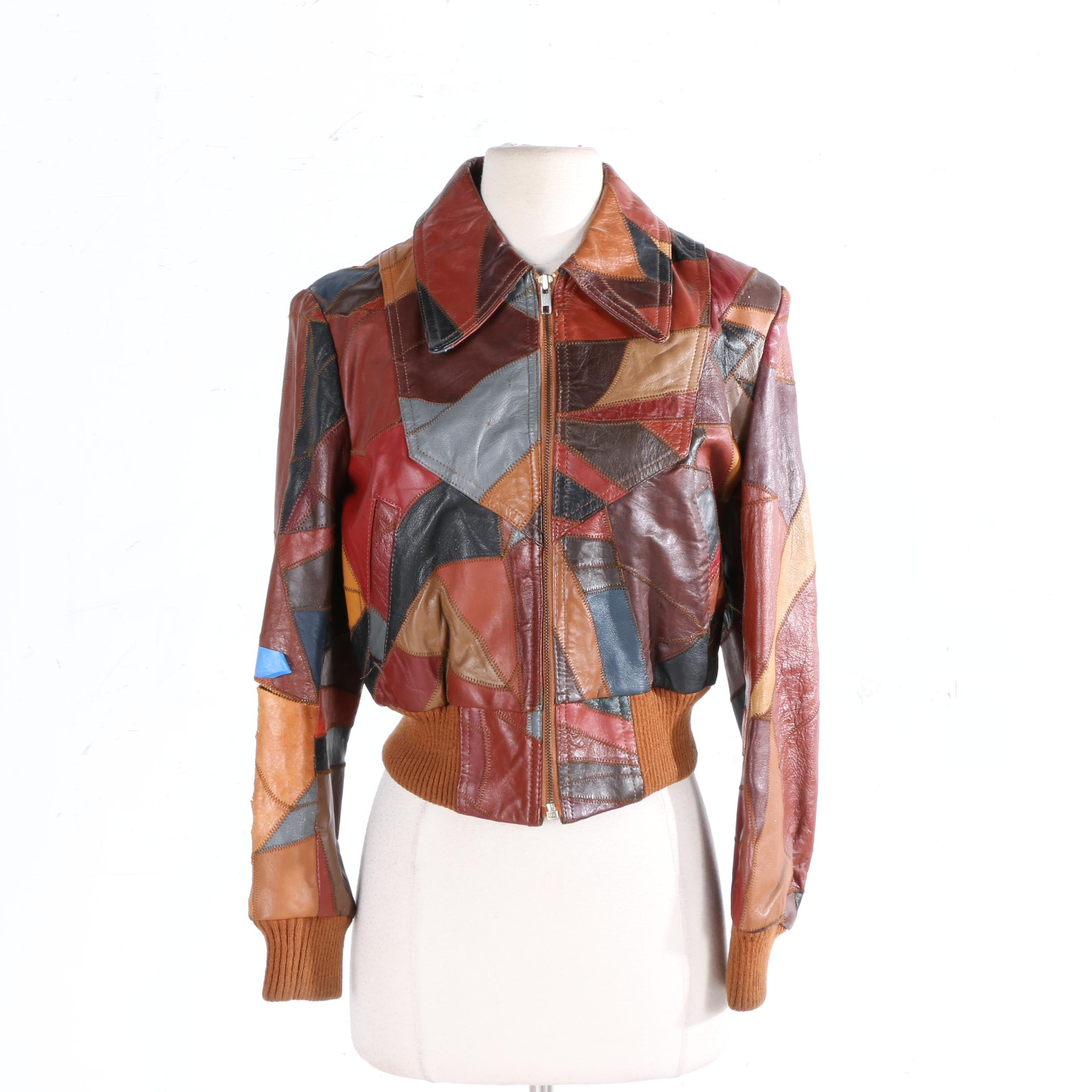 Women's Vintage Patched Leather Jacket