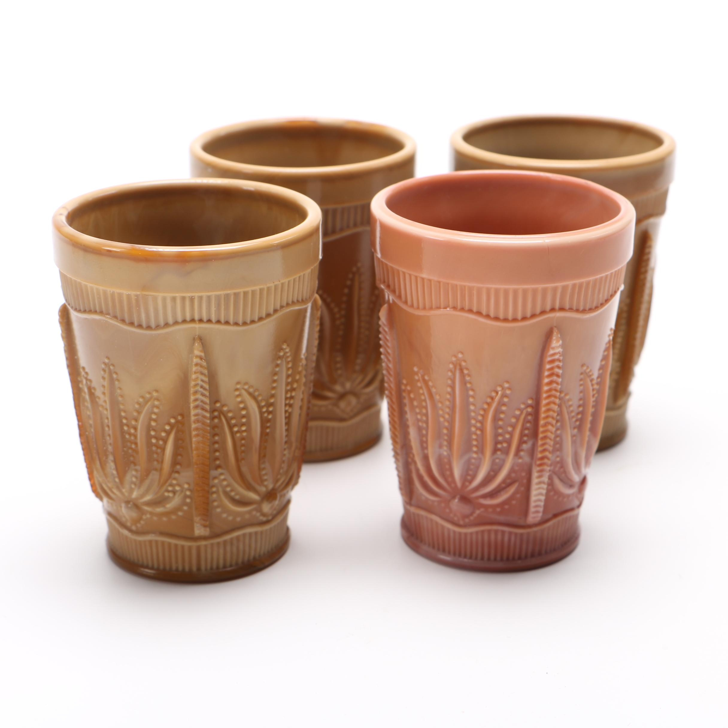 Cactus Chocolate Tumblers From Greentown Glass