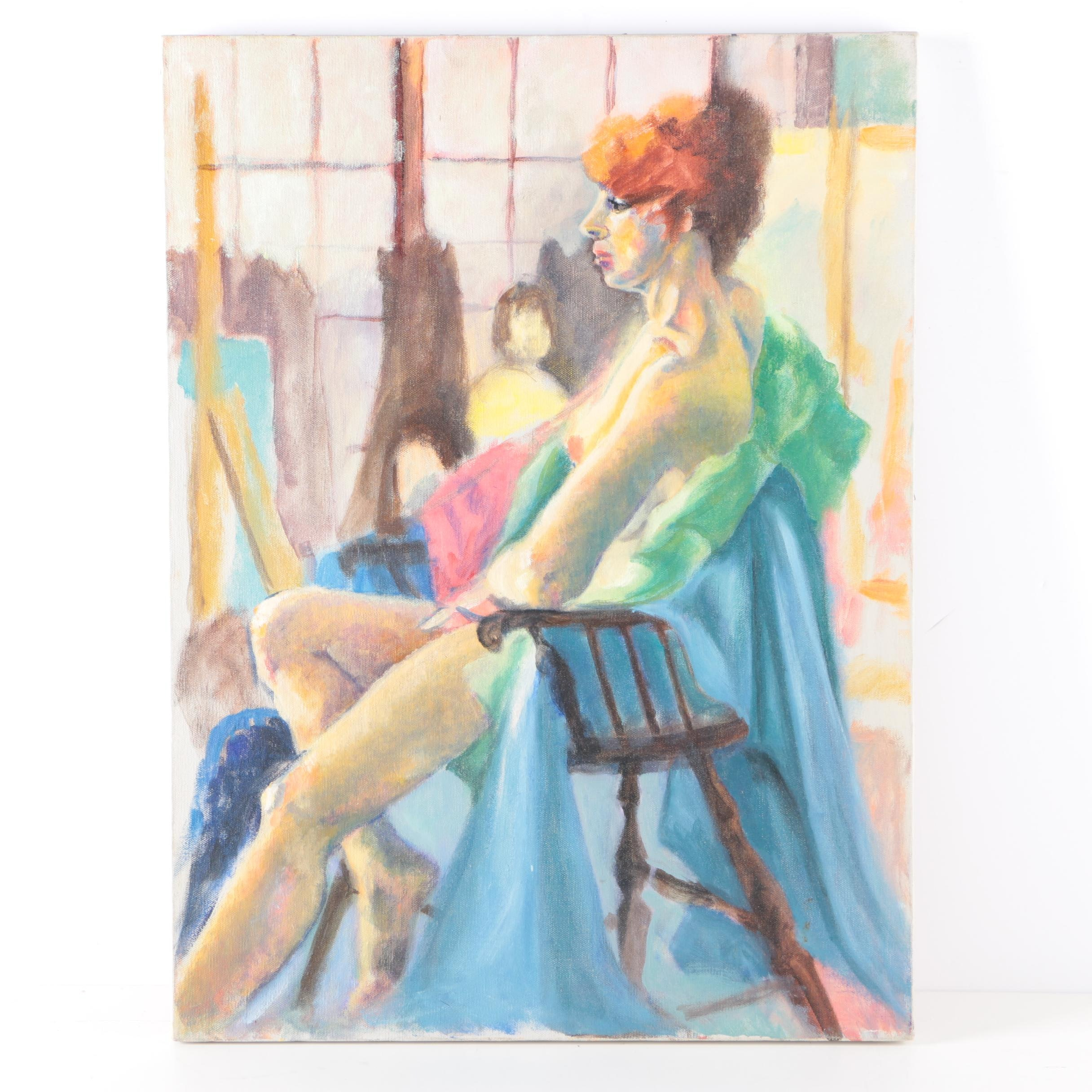 Oil Painting on Canvas of Nude in Chair