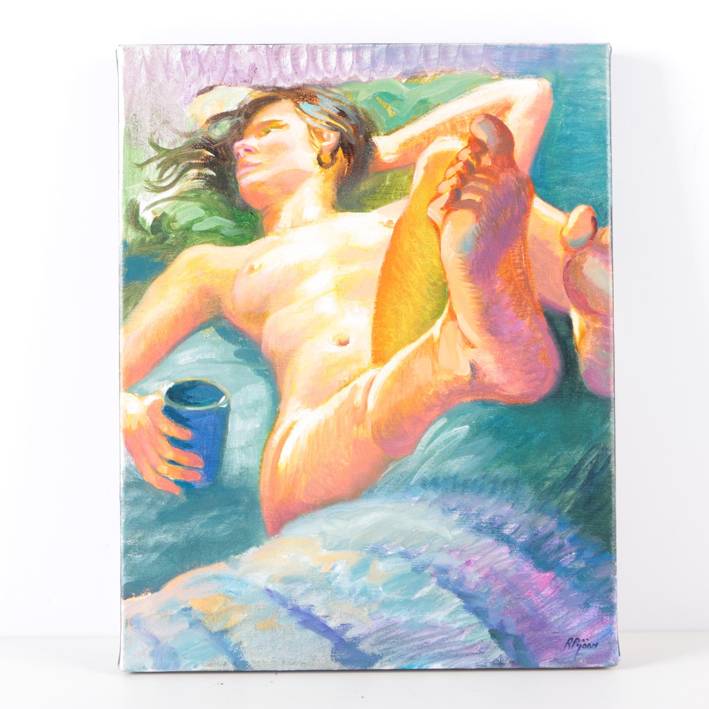 """Randy Pijoan 2009 Oil Painting on Canvas """"Nude Study"""""""