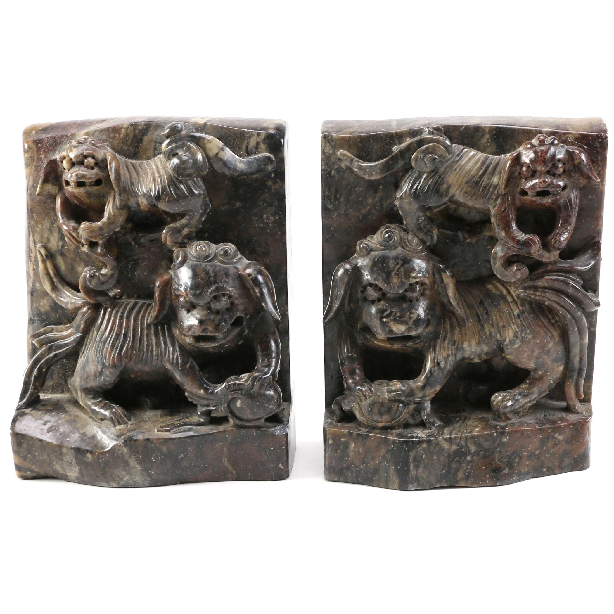 Chinese Hand Carved Soapstone Bookends
