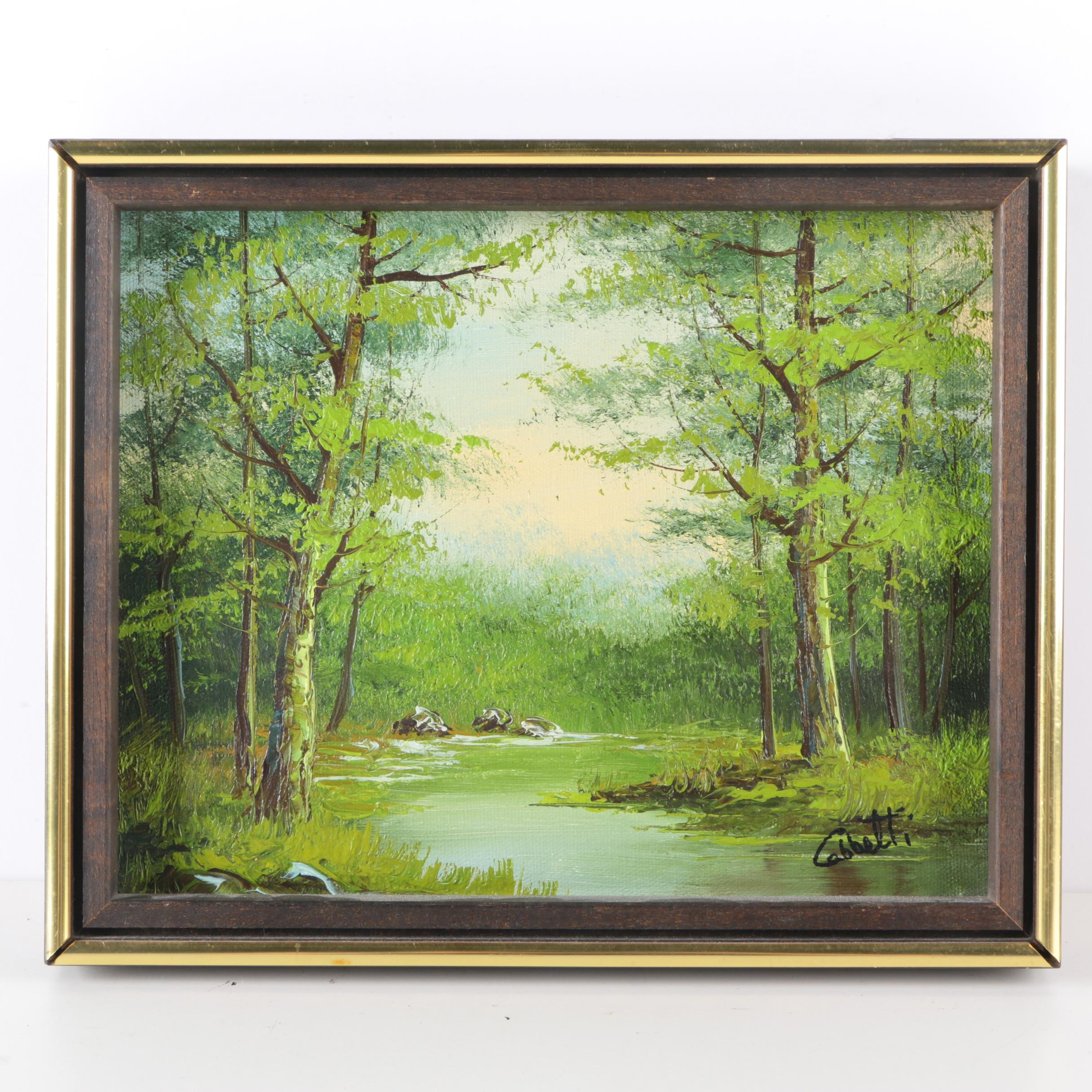 Original Oil On Canvas of Forest and River Signed Cabbetti