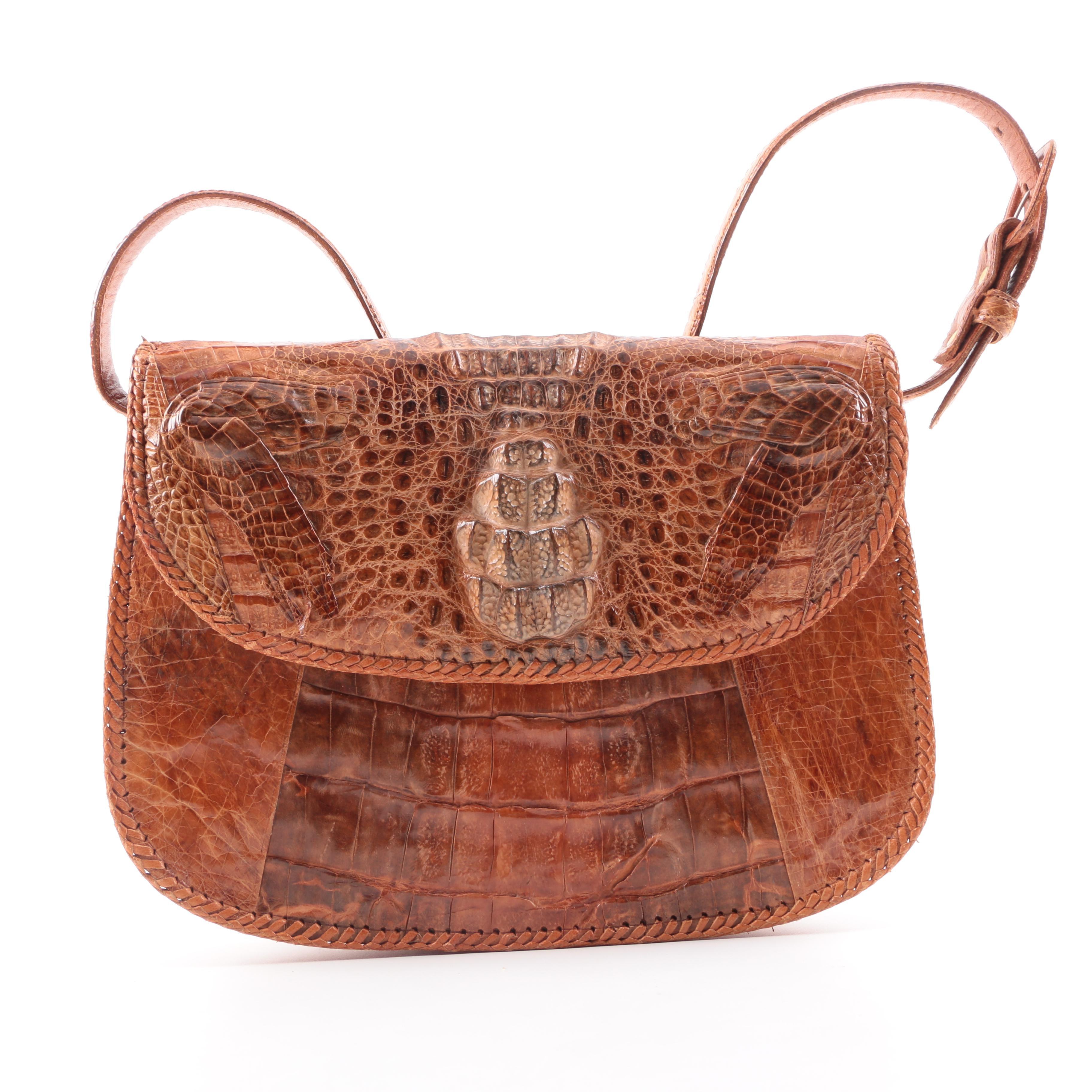Circa 1960s Brown Caiman Alligator and Leather Handbag