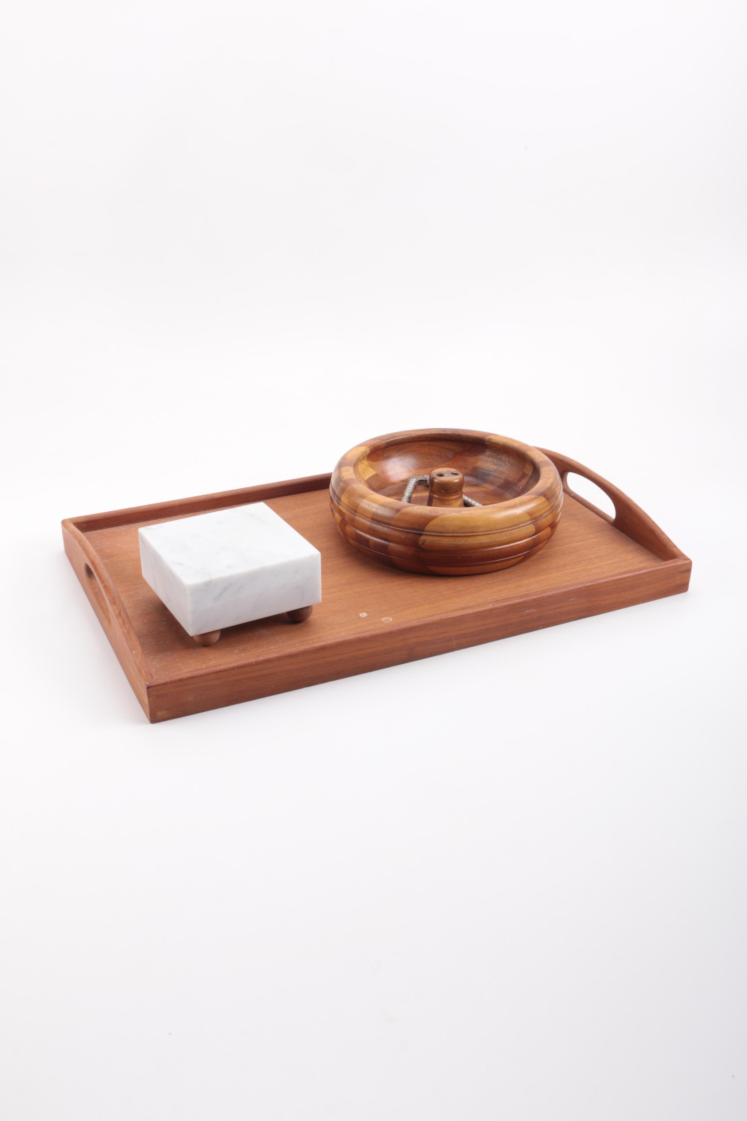 Wood Serving Tray and Nutcraker Set
