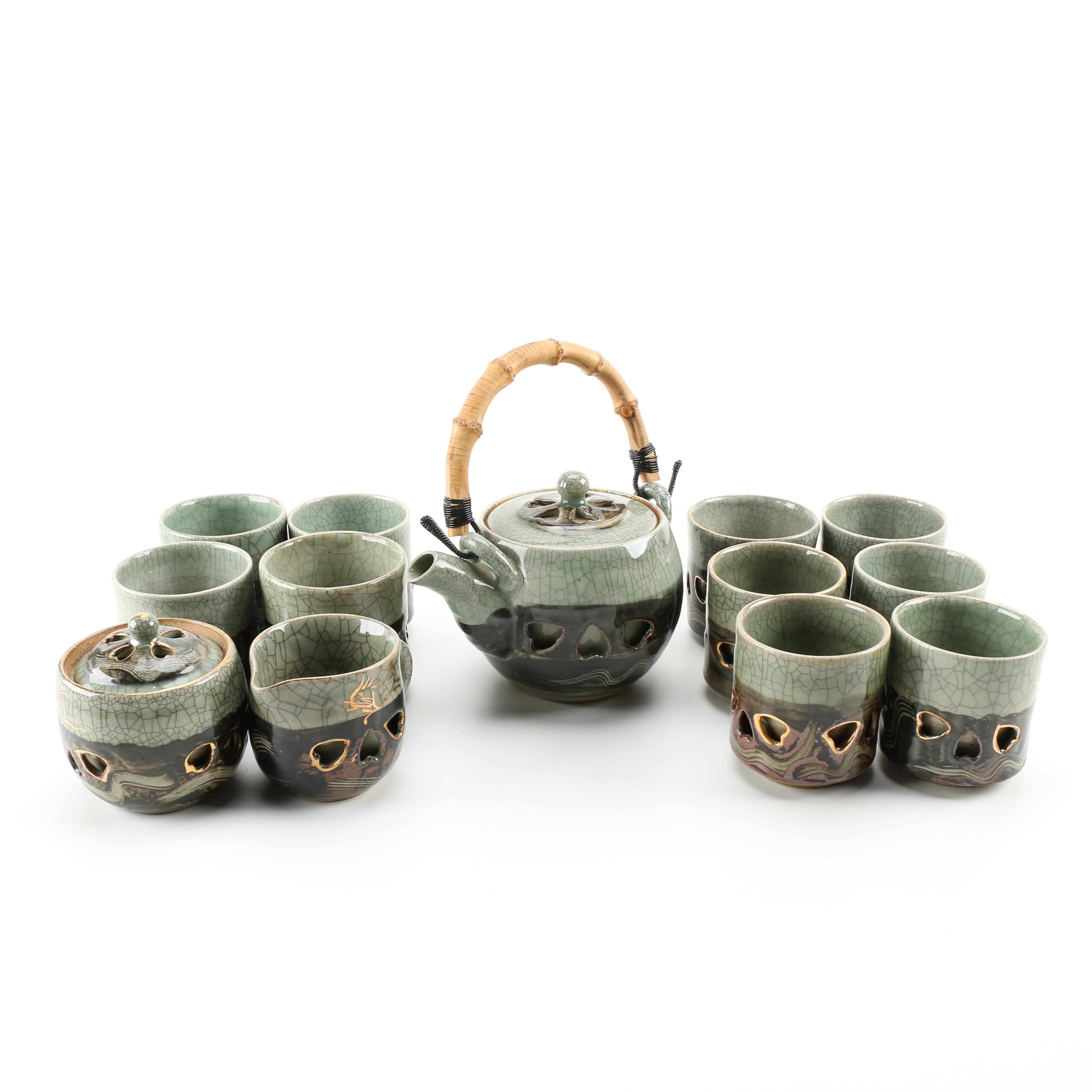 Fine Hand Thrown Double Walled Japanese Tea Set