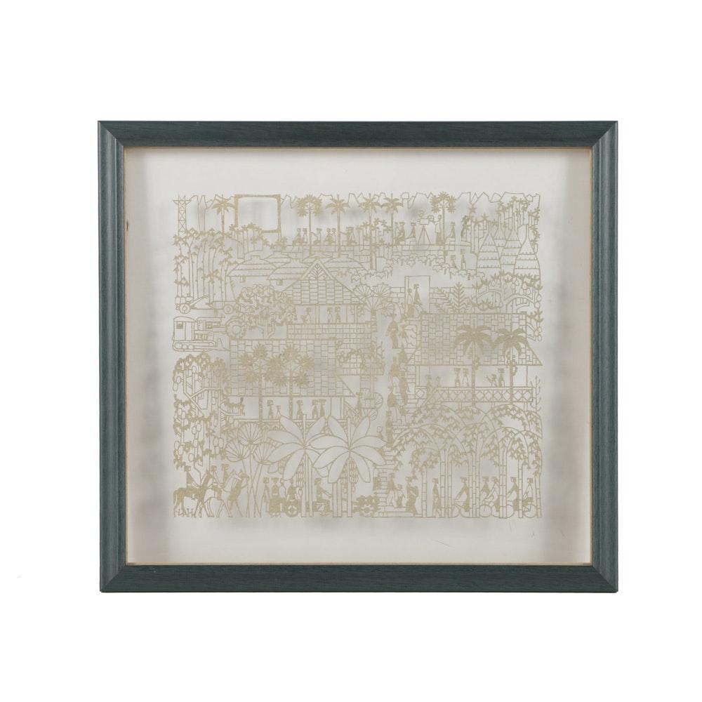 Donald Werner Cut Paper Art of a Tropical Landscape