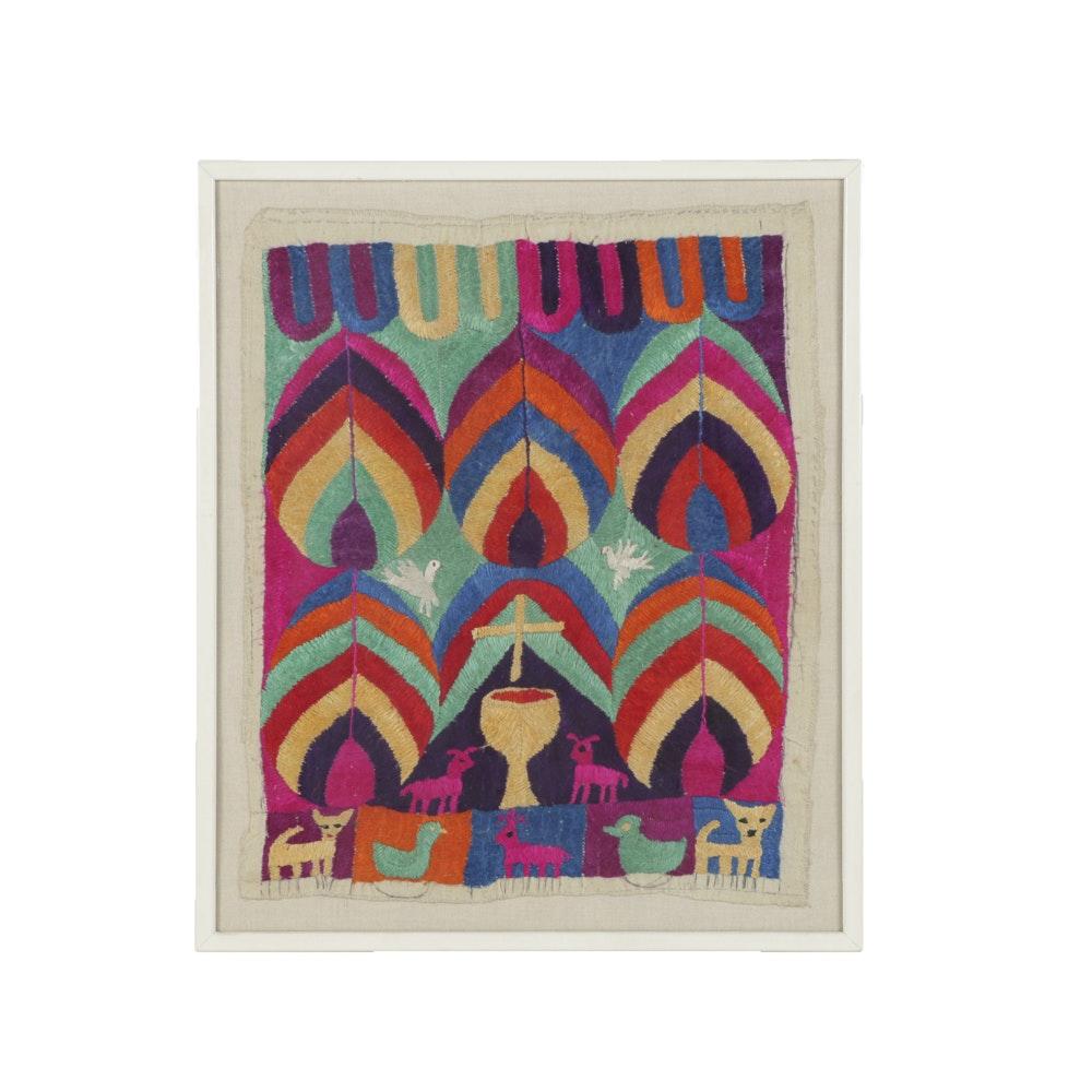 Textile Art on Canvas Religious Composition