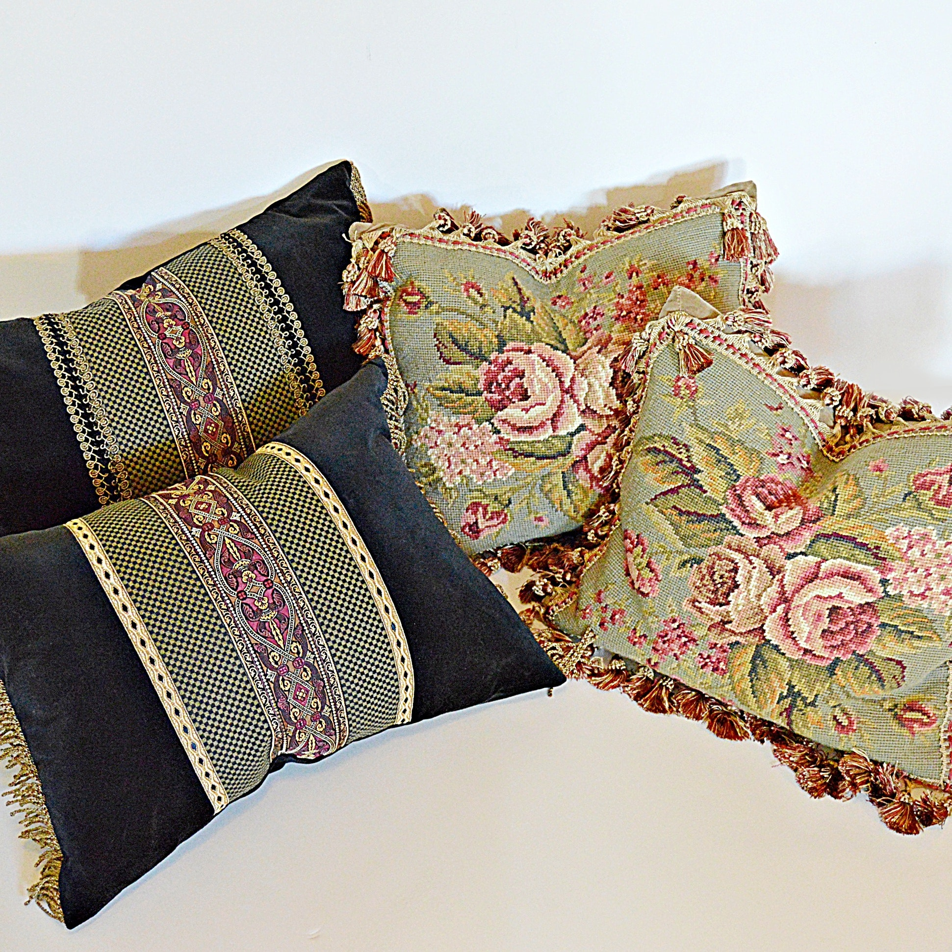 Four Custom Down-Filled Pillows with Two Needlepoint