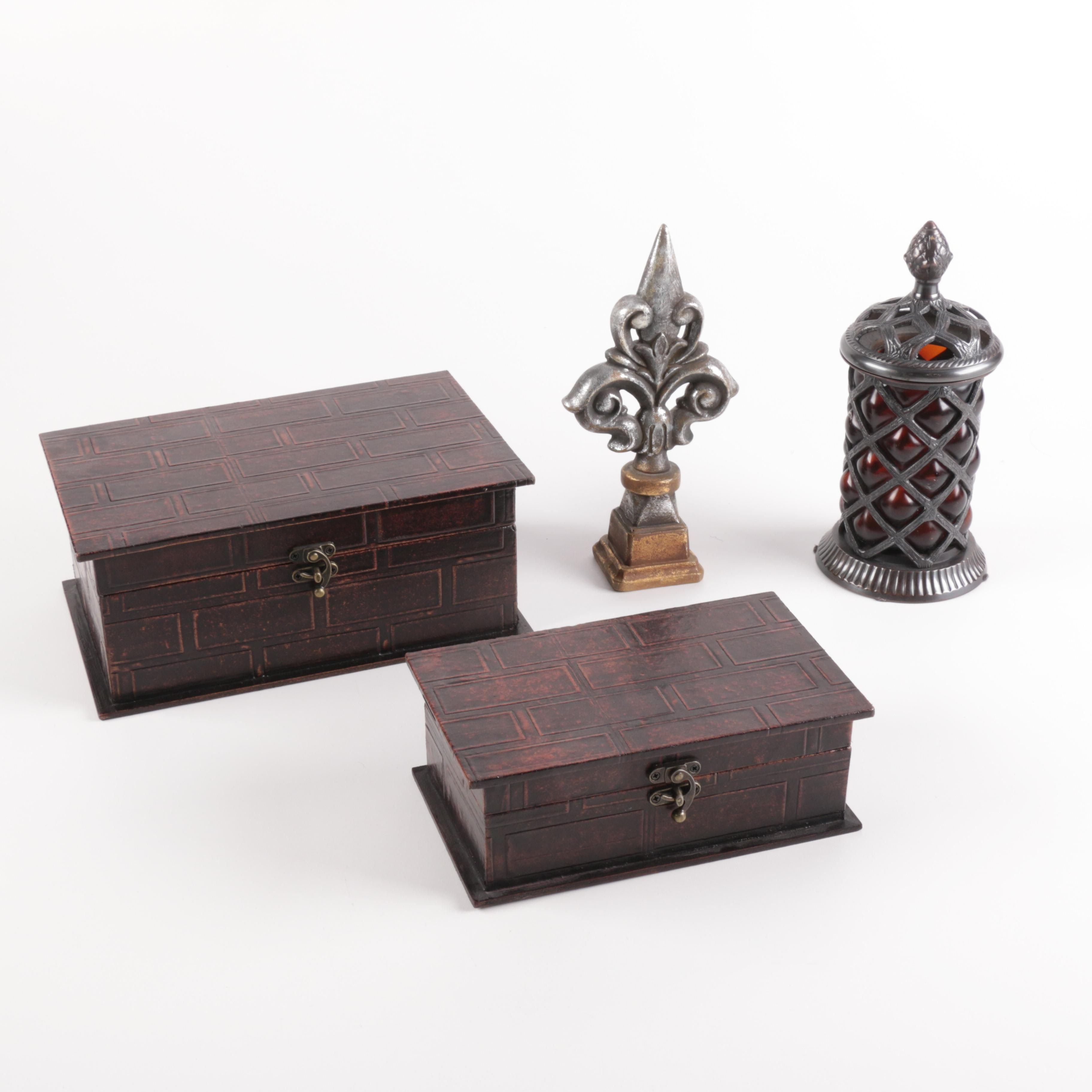 Decorative Boxes, Red Glass and Metal Jar, and Finial