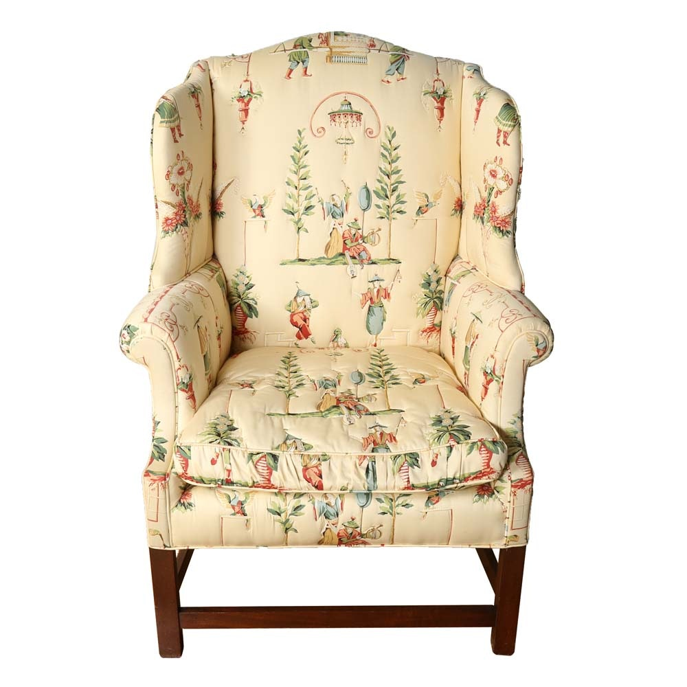 Asian Inspired Wingback Chair