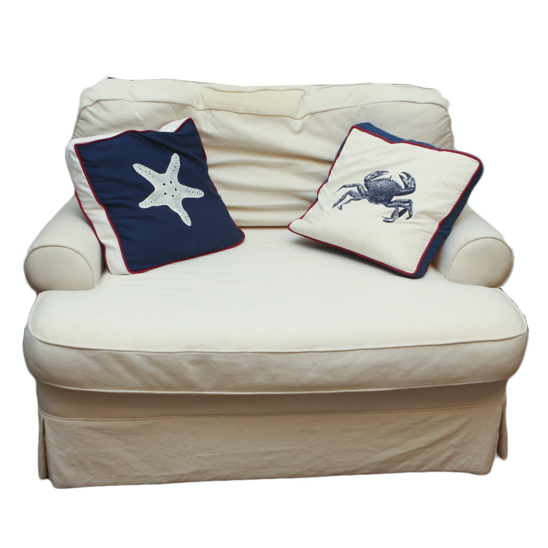 Mitchell Gold Oversized White Cotton Chair with Nautical Accent Pillows