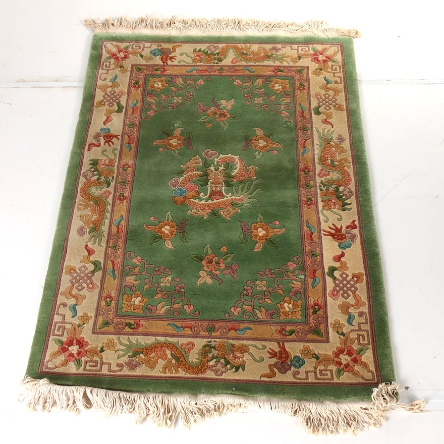 Hand Knotted Carved Chinese Dragon Area Rug