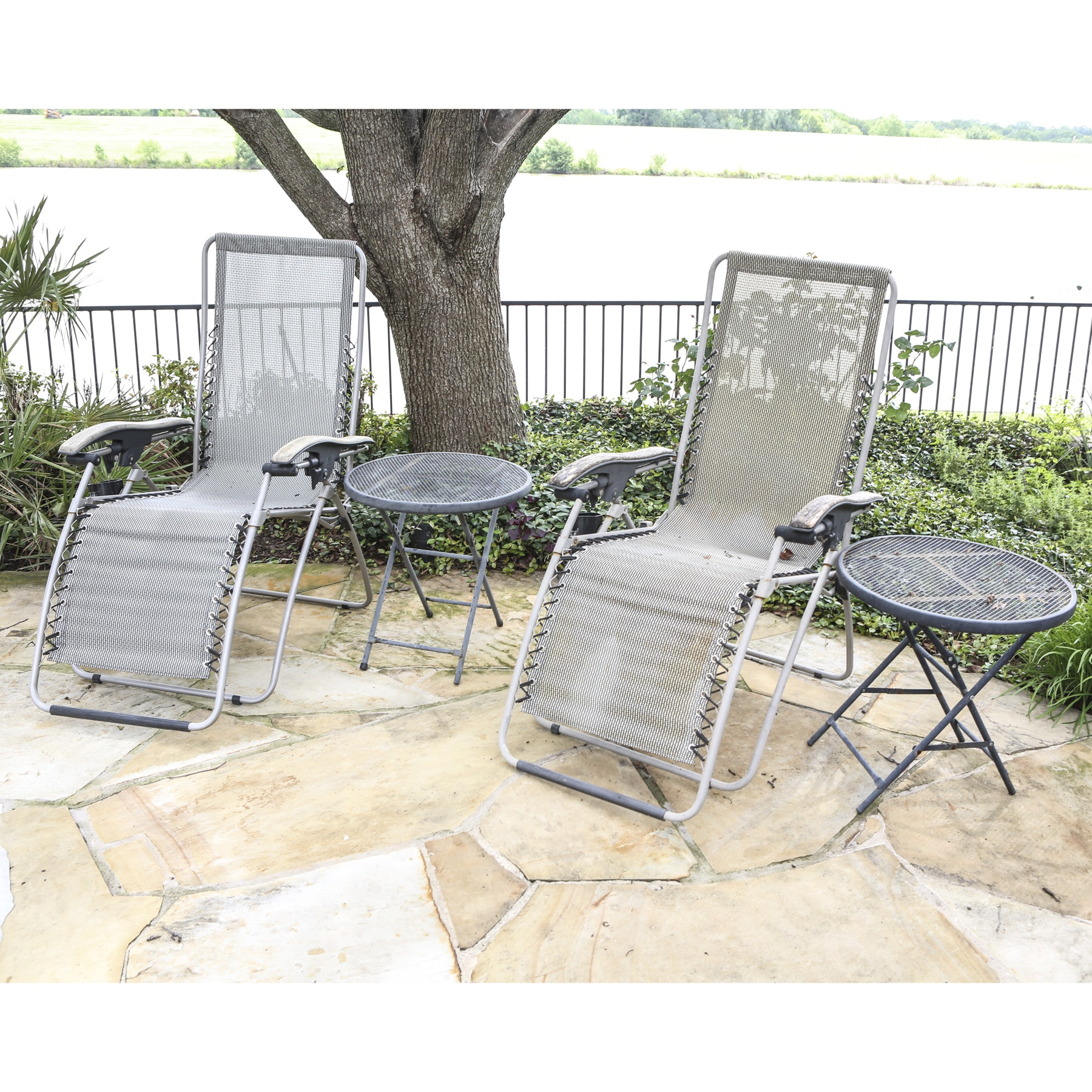 Pair of Patio Chaise Lounge Chairs with Two Side Tables