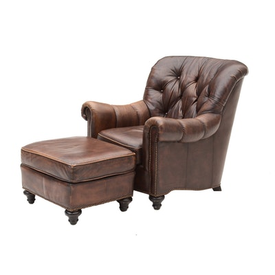 Bernhardt Leather Chair and Ottoman - Wayne Phillips For Barcalounger Leather Cowhide Arm Chair And