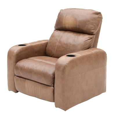 Barcalounger Leather Movie Theater Reclining Chair - Wayne Phillips For Barcalounger Leather Cowhide Arm Chair And