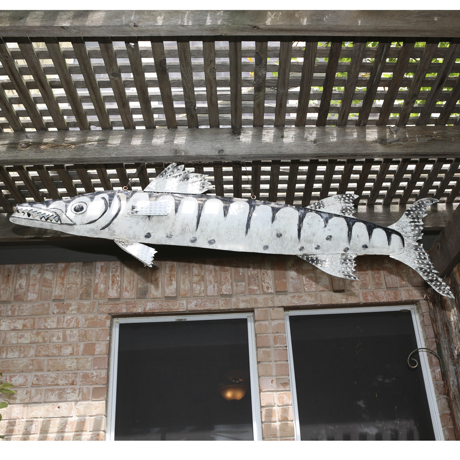 Large Metal Fish Hanging Sculpture