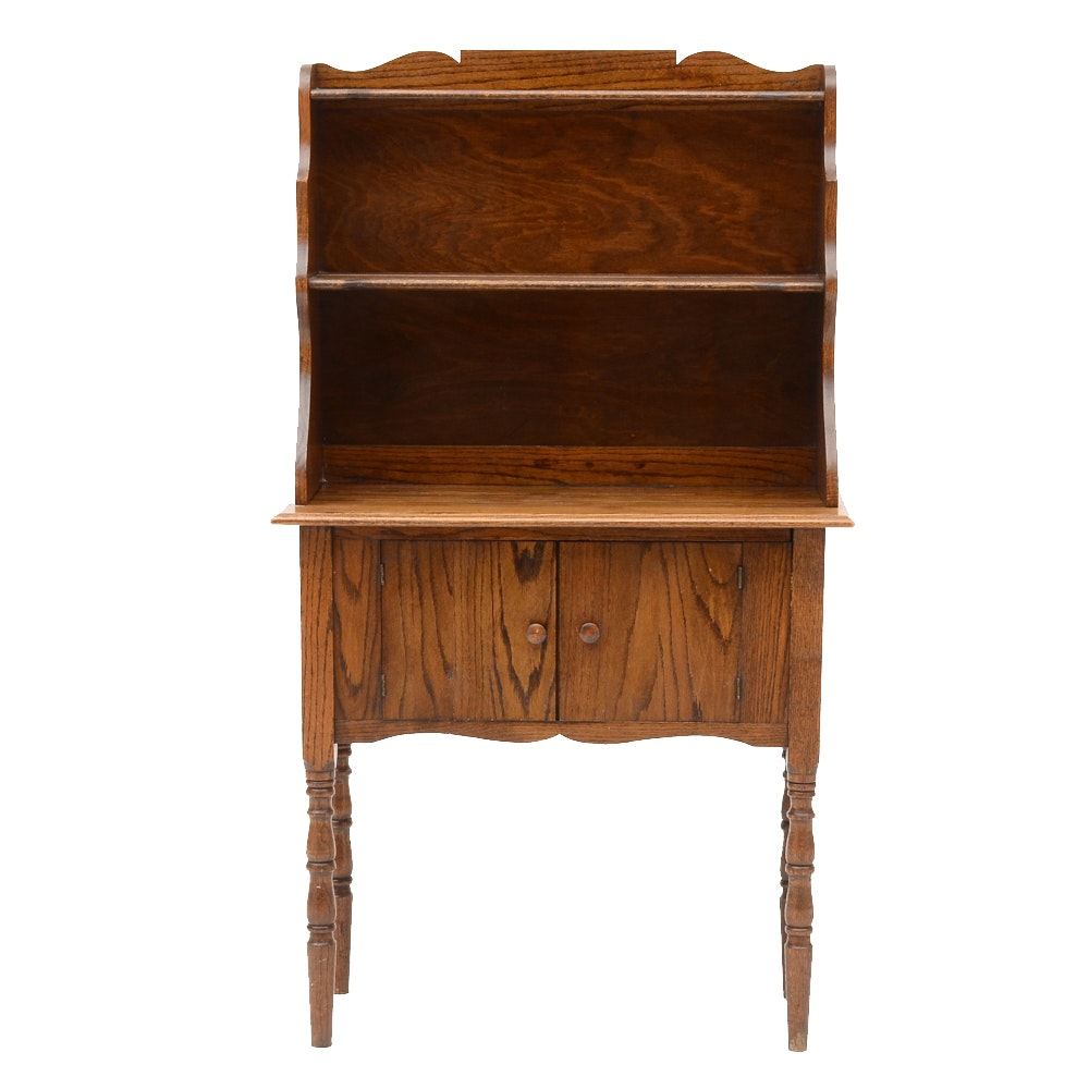 Vintage Two-Piece Solid Oak Hutch