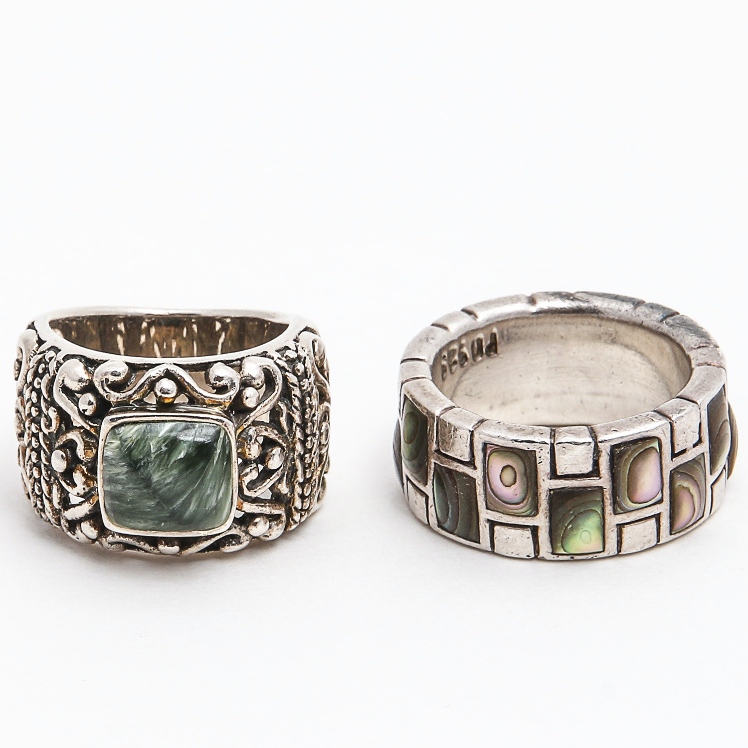 Pair of Sterling Silver Abalone and Seraphinite Rings