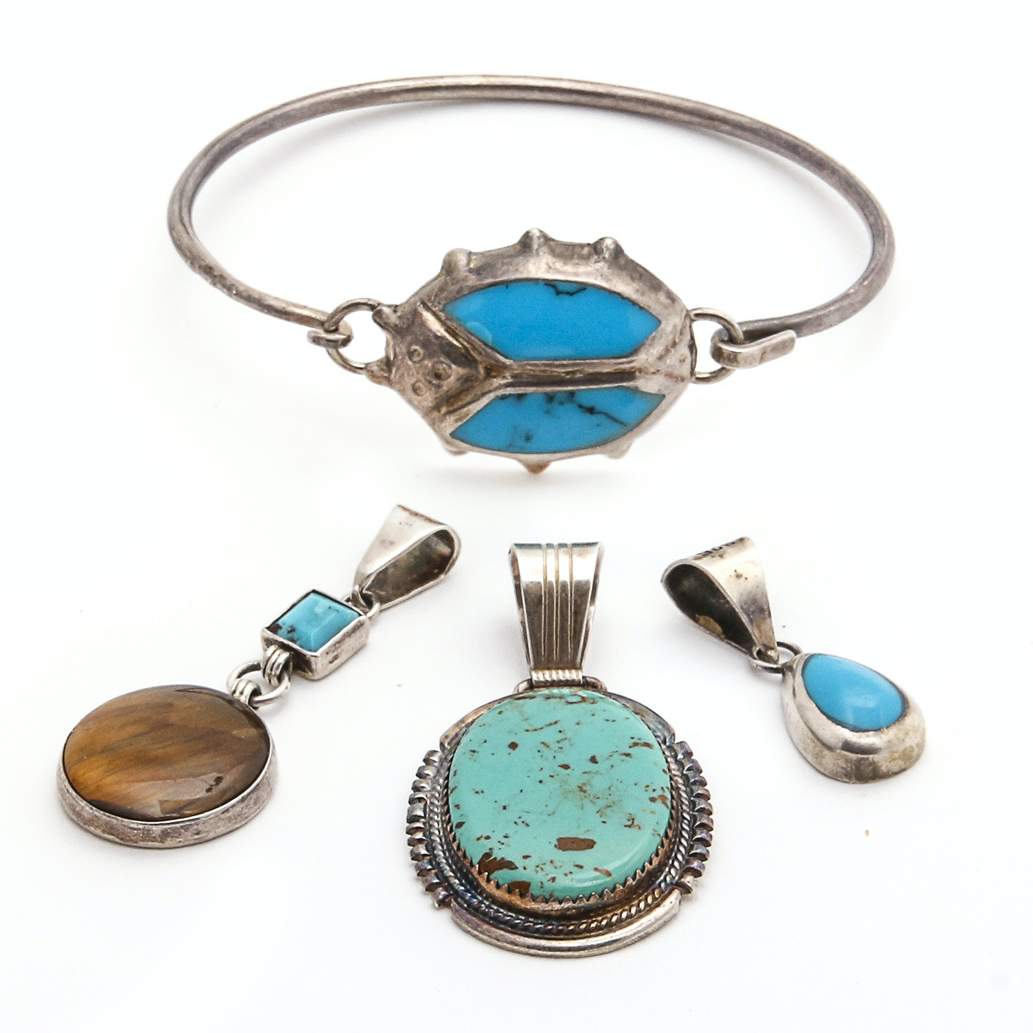 Sterling and Turquoise Pendants with Bracelet