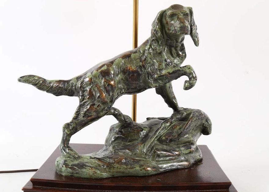 Bronze Hunting Dog Lamp Ebth