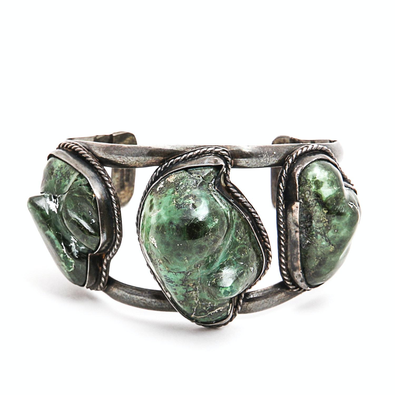 Sterling Silver and Jasper Cuff Bracelet