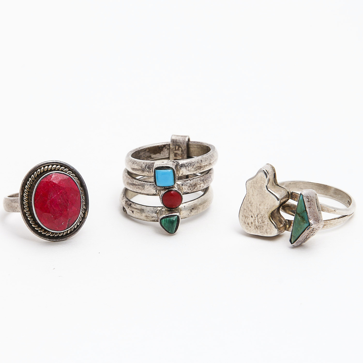Three Sterling Rings Including Turquoise and Coral Accents