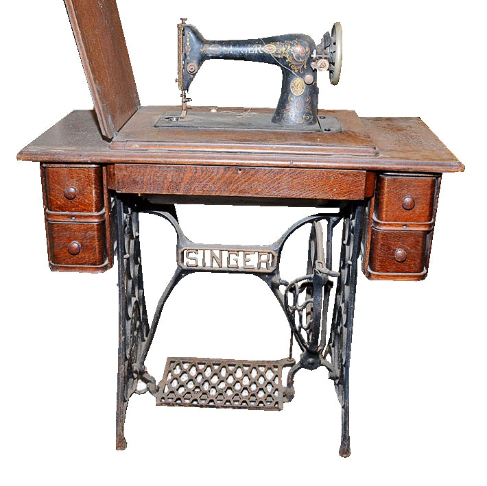 Antique Singer Sewing Machine with Treadle Table