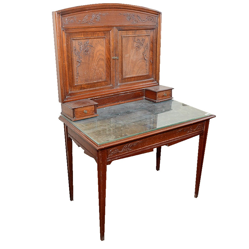 French Art Nouveau Style Writing Table with Mirror