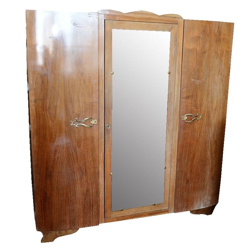 French Art Deco Style Three Door Armoire