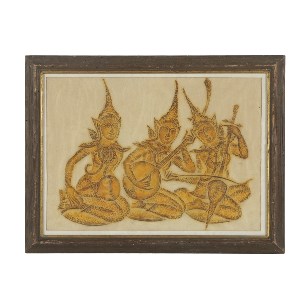 Thai Temple Rubbing on Rice Paper of Three Musicians