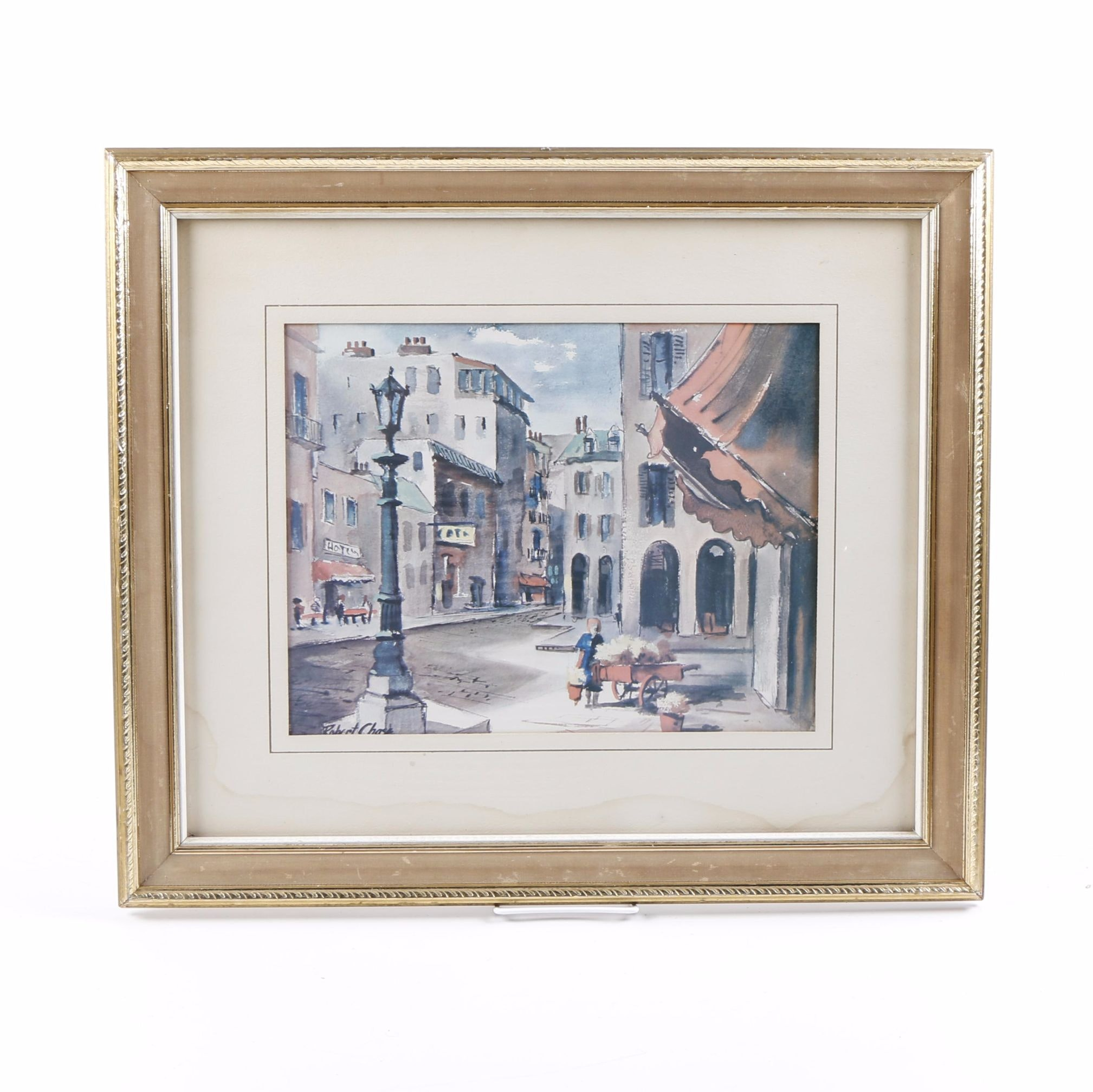 Offset Lithograph After Robert Chase of Street Scene