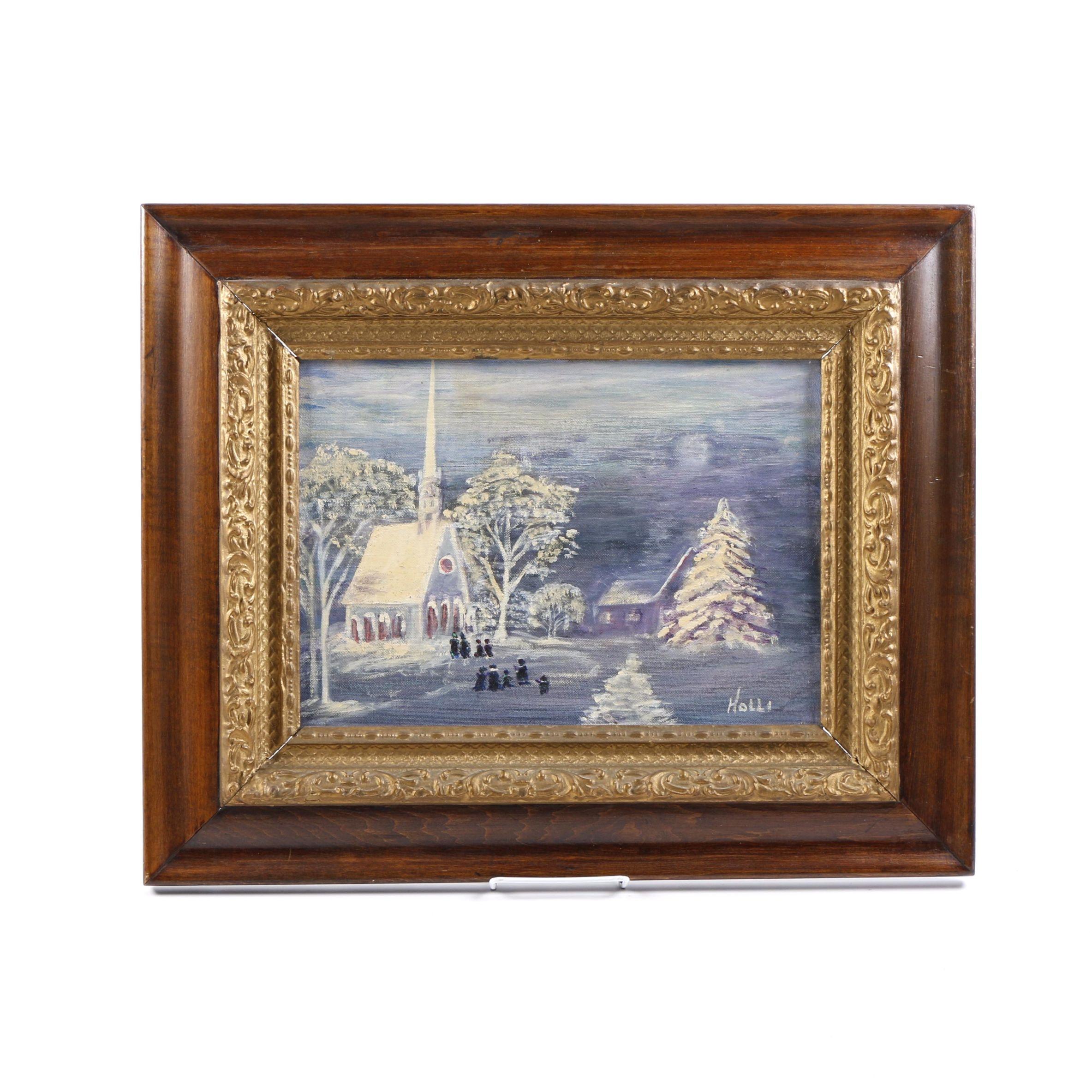 "Holli Acrylic Painting on Canvas Board ""Xmas Eve"""