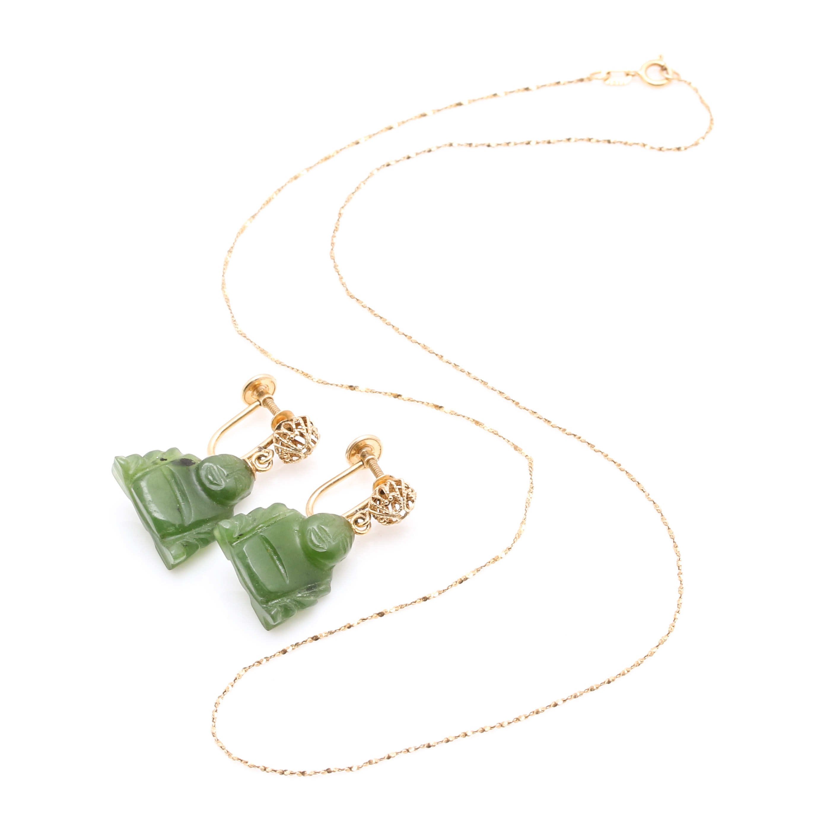 14K Yellow Gold Chain and Nephrite Buddha Earrings