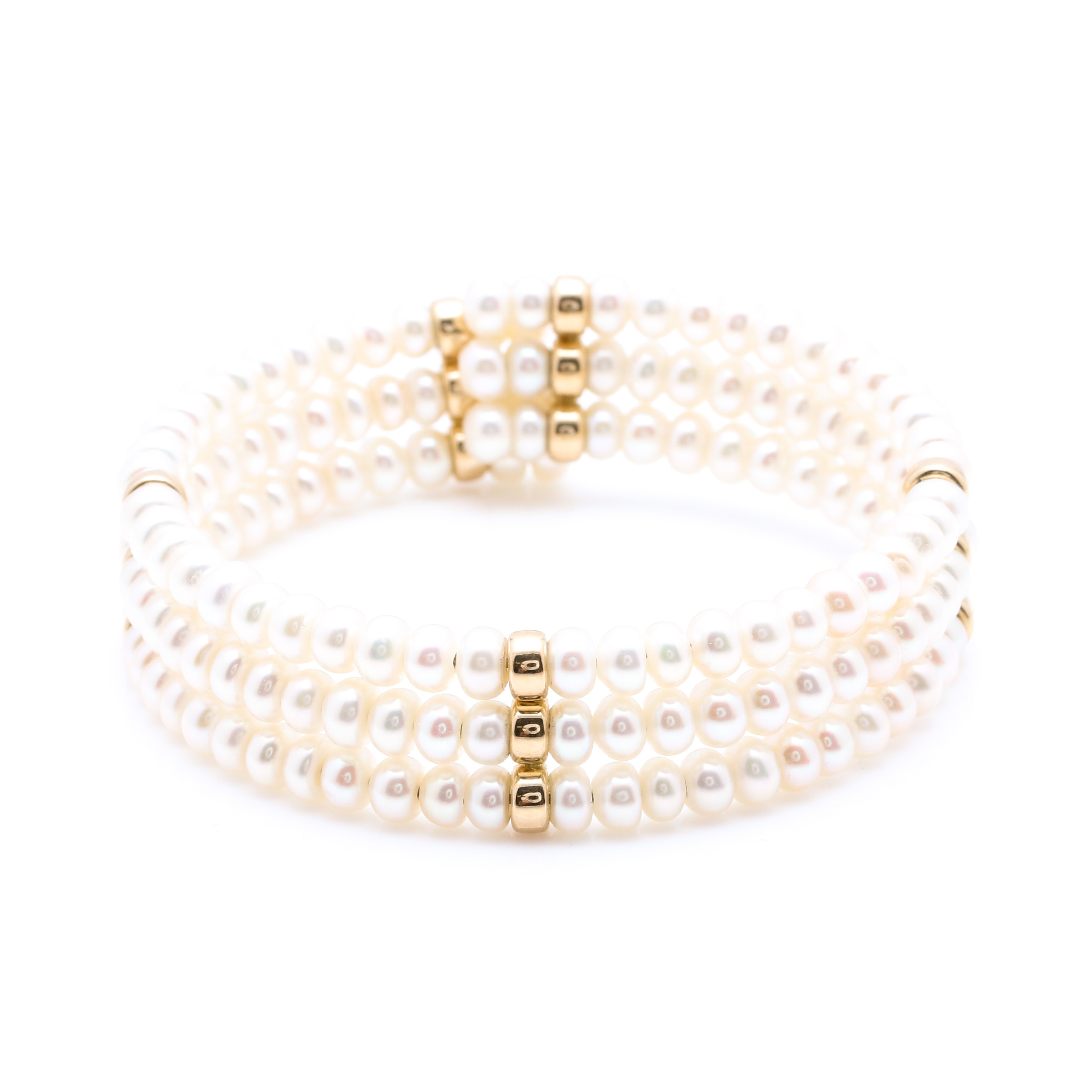 Cultured Pearl Bracelet with 14K Yellow Gold Accent Beads