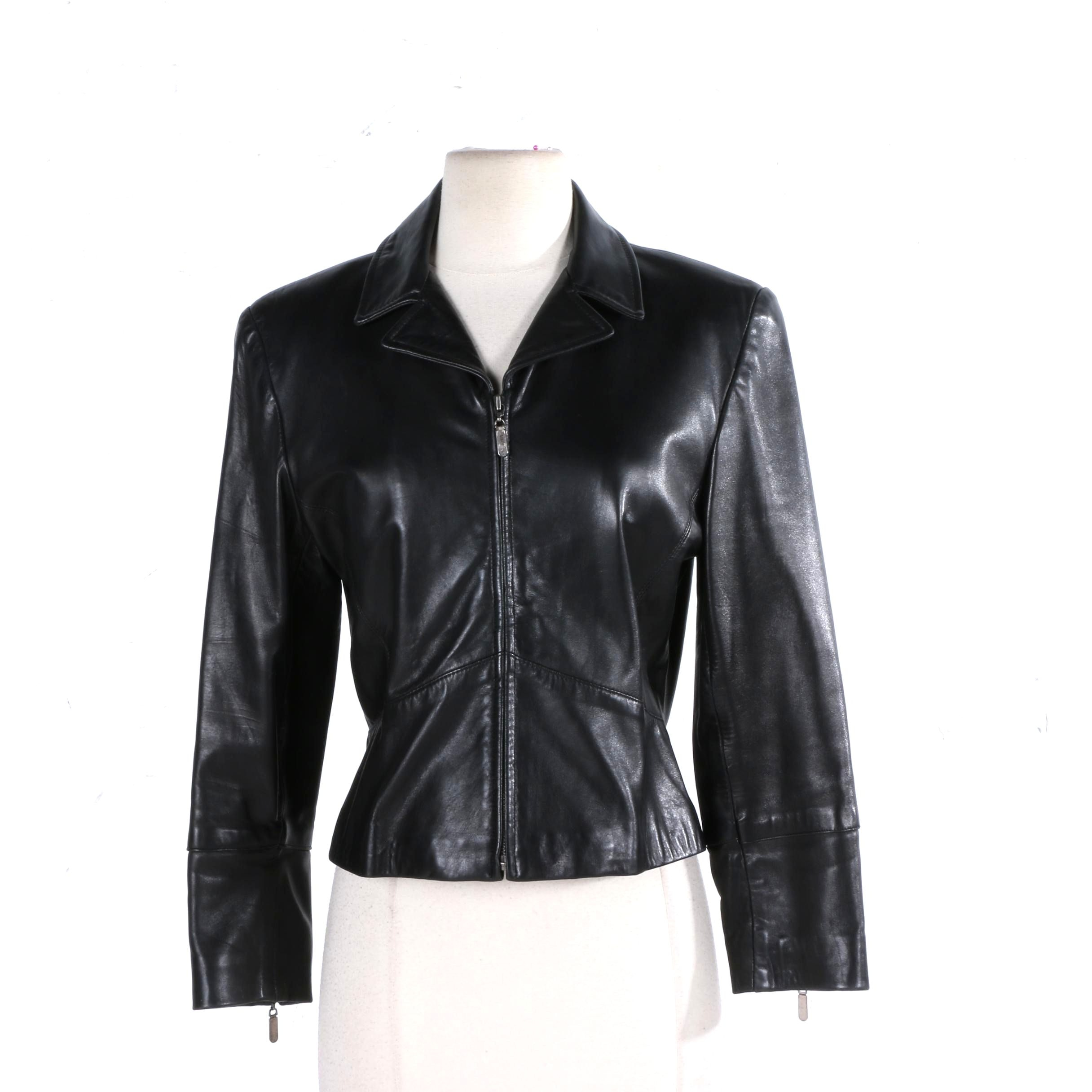 Women's Black Leather Jacket by Siena Collection