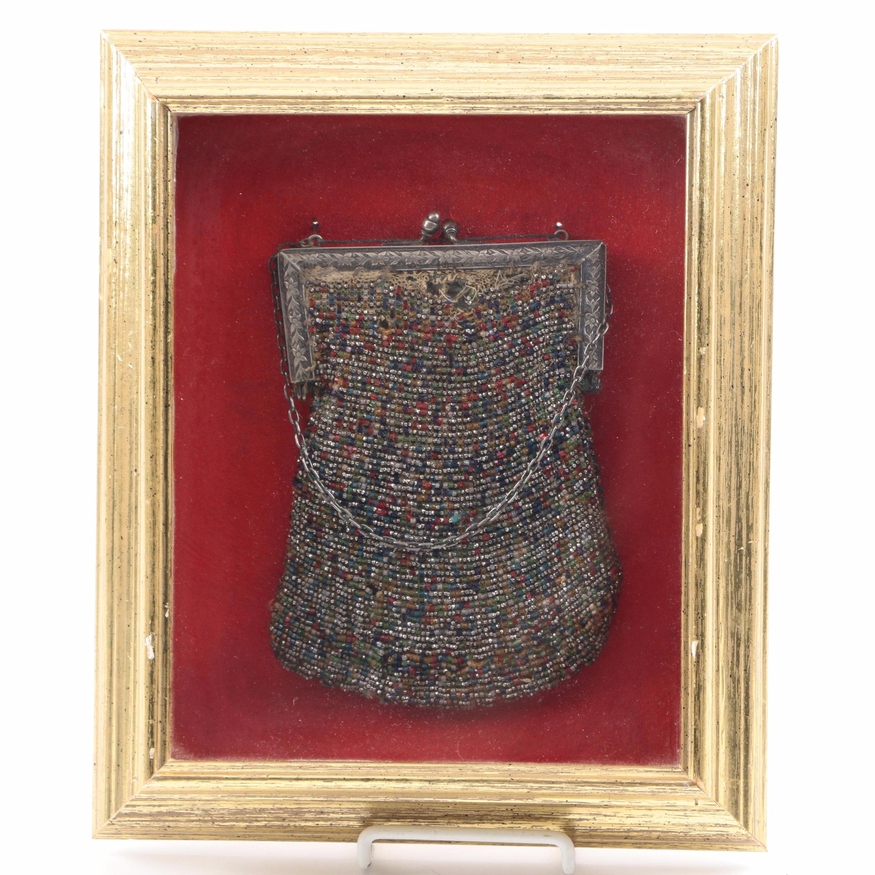 Framed Antique Beaded Purse